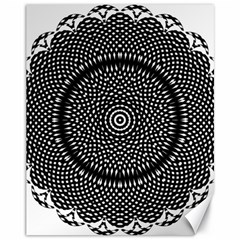 Black Lace Kaleidoscope On White Canvas 11  X 14   by Amaryn4rt