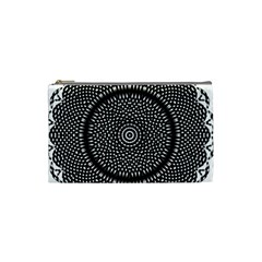 Black Lace Kaleidoscope On White Cosmetic Bag (small)  by Amaryn4rt