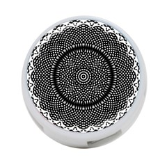 Black Lace Kaleidoscope On White 4 Port Usb Hub (two Sides)  by Amaryn4rt