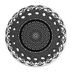 Black Lace Kaleidoscope On White Round Filigree Ornament (two Sides) by Amaryn4rt