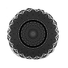 Black Lace Kaleidoscope On White Standard 15  Premium Flano Round Cushions by Amaryn4rt