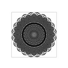 Black Lace Kaleidoscope On White Satin Bandana Scarf by Amaryn4rt