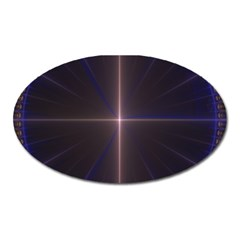 Color Fractal Symmetric Blue Circle Oval Magnet by Amaryn4rt