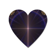 Color Fractal Symmetric Blue Circle Heart Magnet by Amaryn4rt