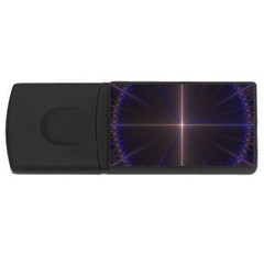 Color Fractal Symmetric Blue Circle Usb Flash Drive Rectangular (4 Gb) by Amaryn4rt