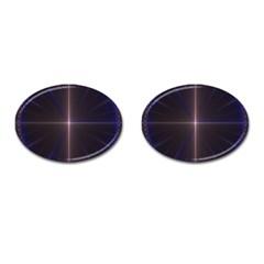 Color Fractal Symmetric Blue Circle Cufflinks (oval) by Amaryn4rt