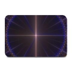Color Fractal Symmetric Blue Circle Plate Mats by Amaryn4rt