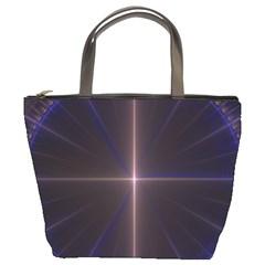 Color Fractal Symmetric Blue Circle Bucket Bags by Amaryn4rt