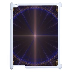 Color Fractal Symmetric Blue Circle Apple Ipad 2 Case (white) by Amaryn4rt