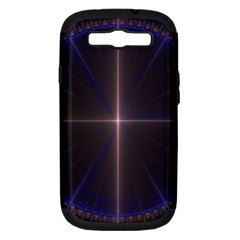 Color Fractal Symmetric Blue Circle Samsung Galaxy S Iii Hardshell Case (pc+silicone) by Amaryn4rt