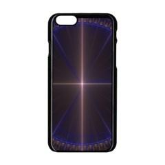 Color Fractal Symmetric Blue Circle Apple Iphone 6/6s Black Enamel Case by Amaryn4rt
