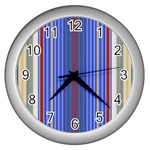 Colorful Stripes Background Wall Clocks (Silver)  Front