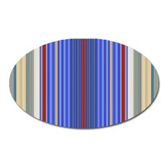 Colorful Stripes Background Oval Magnet by Amaryn4rt
