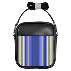 Colorful Stripes Background Girls Sling Bags by Amaryn4rt