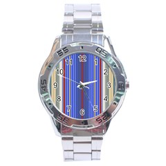 Colorful Stripes Background Stainless Steel Analogue Watch by Amaryn4rt