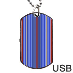 Colorful Stripes Background Dog Tag Usb Flash (one Side) by Amaryn4rt