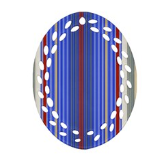 Colorful Stripes Background Oval Filigree Ornament (two Sides) by Amaryn4rt