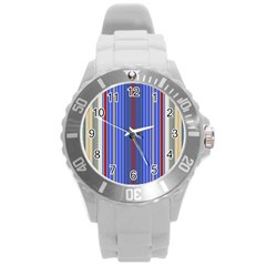 Colorful Stripes Background Round Plastic Sport Watch (l) by Amaryn4rt