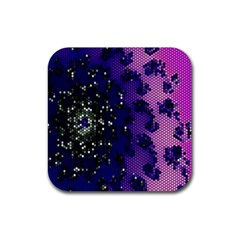 Blue Digital Fractal Rubber Coaster (square)  by Amaryn4rt