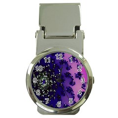Blue Digital Fractal Money Clip Watches by Amaryn4rt