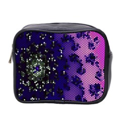 Blue Digital Fractal Mini Toiletries Bag 2 Side by Amaryn4rt