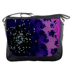 Blue Digital Fractal Messenger Bags by Amaryn4rt