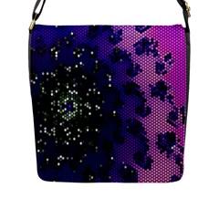 Blue Digital Fractal Flap Messenger Bag (l)  by Amaryn4rt