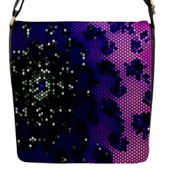 Blue Digital Fractal Flap Messenger Bag (s) by Amaryn4rt