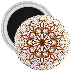 Golden Filigree Flake On White 3  Magnets