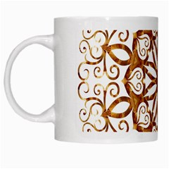 Golden Filigree Flake On White White Mugs by Amaryn4rt