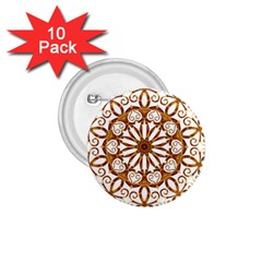 Golden Filigree Flake On White 1 75  Buttons (10 Pack) by Amaryn4rt