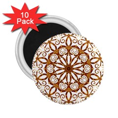 Golden Filigree Flake On White 2 25  Magnets (10 Pack)