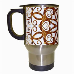 Golden Filigree Flake On White Travel Mugs (white) by Amaryn4rt