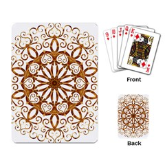 Golden Filigree Flake On White Playing Card by Amaryn4rt