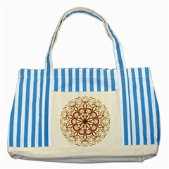 Golden Filigree Flake On White Striped Blue Tote Bag by Amaryn4rt