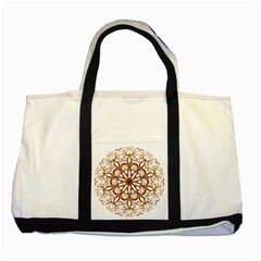 Golden Filigree Flake On White Two Tone Tote Bag by Amaryn4rt
