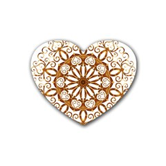 Golden Filigree Flake On White Rubber Coaster (heart)  by Amaryn4rt