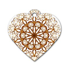 Golden Filigree Flake On White Dog Tag Heart (one Side) by Amaryn4rt