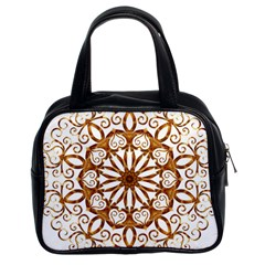 Golden Filigree Flake On White Classic Handbags (2 Sides) by Amaryn4rt