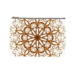 Golden Filigree Flake On White Cosmetic Bag (large)  by Amaryn4rt