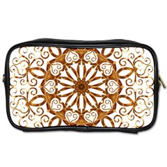 Golden Filigree Flake On White Toiletries Bags 2 Side by Amaryn4rt