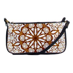 Golden Filigree Flake On White Shoulder Clutch Bags by Amaryn4rt
