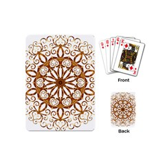 Golden Filigree Flake On White Playing Cards (mini)  by Amaryn4rt