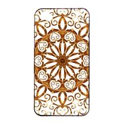 Golden Filigree Flake On White Apple Iphone 4/4s Seamless Case (black)