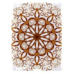 Golden Filigree Flake On White Apple Ipad 3/4 Hardshell Case (compatible With Smart Cover) by Amaryn4rt