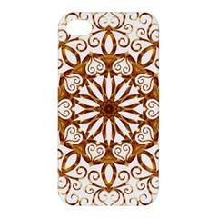 Golden Filigree Flake On White Apple Iphone 4/4s Premium Hardshell Case by Amaryn4rt