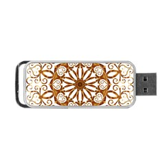 Golden Filigree Flake On White Portable USB Flash (Two Sides)