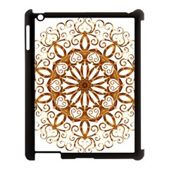 Golden Filigree Flake On White Apple Ipad 3/4 Case (black) by Amaryn4rt