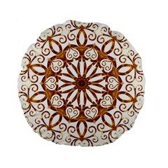 Golden Filigree Flake On White Standard 15  Premium Round Cushions by Amaryn4rt