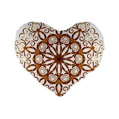 Golden Filigree Flake On White Standard 16  Premium Heart Shape Cushions by Amaryn4rt